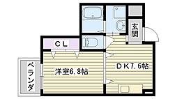 コートハウス[403号室]の間取り