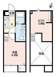 JR高崎線 宮原駅 徒歩12分の賃貸アパート 2階1Kの間取り