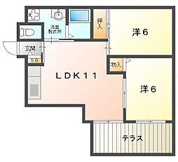 Osaka Metro谷町線 守口駅 徒歩4分の賃貸マンション 1階2LDKの間取り