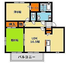 栃木県宇都宮市緑3丁目の賃貸アパートの間取り