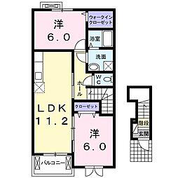 JR阪和線 下松駅 徒歩32分の賃貸アパート 2階2LDKの間取り