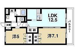 京都府木津川市梅美台4丁目の賃貸マンションの間取り