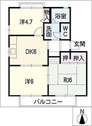 サンロジュマン A・B棟[1階]の間取り