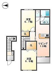 兵庫県三木市宿原の賃貸アパートの間取り