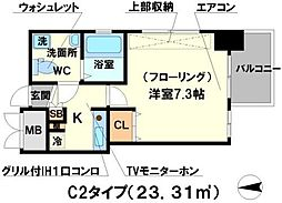 アスール江坂3rd[2階]の間取り