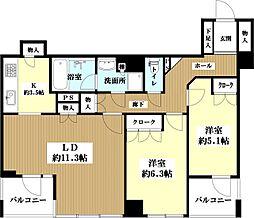 パークハイム芦屋松ノ内町 2階2LDKの間取り