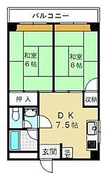 静岡県静岡市駿河区東新田2丁目の賃貸マンションの間取り