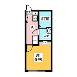 m-station 1階1Kの間取り