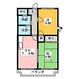 静岡県静岡市駿河区小黒1丁目の賃貸マンションの間取り