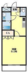 愛知県豊田市東保見町大門の賃貸アパートの間取り