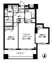 クリオ文京小石川 9階2LDKの間取り