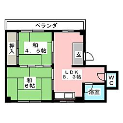 コーポ清宝[2階]の間取り