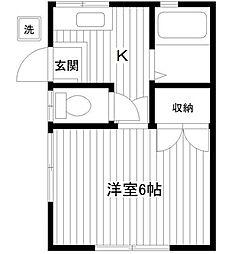 神奈川県横浜市神奈川区浦島町の賃貸アパートの間取り