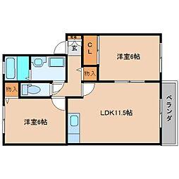奈良県香芝市磯壁6丁目の賃貸アパートの間取り
