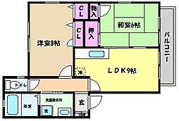 兵庫県神戸市東灘区御影中町4丁目の賃貸アパートの間取り