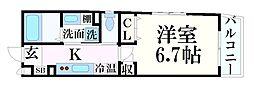 メゾンコンフォール六甲 2階1Kの間取り