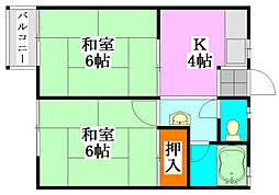 コーポミユキ[202号室]の間取り