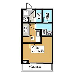 THE CLASS OMORI 4階1Kの間取り