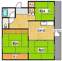 男山第三住宅201棟[2階]の間取り