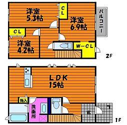 [タウンハウス] 岡山県倉敷市福島 の賃貸【/】の間取り
