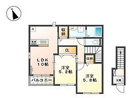 兵庫県姫路市下手野2丁目の賃貸アパートの間取り