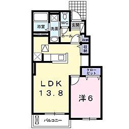 近鉄橿原線 九条駅 徒歩11分の賃貸アパート 1階1LDKの間取り
