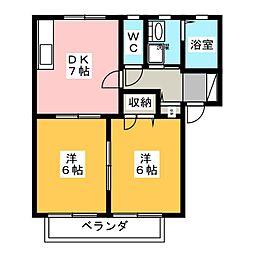 ピースフルハイム[1階]の間取り