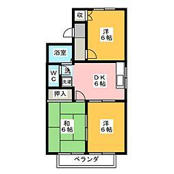 愛知県稲沢市平和町西光坊宮西の賃貸アパートの間取り