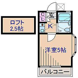 神奈川県横浜市港北区菊名2丁目の賃貸アパートの間取り