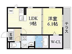 泉北高速鉄道 深井駅 徒歩13分の賃貸アパート 1階1LDKの間取り
