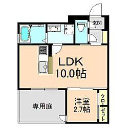 クレアージュ玉井町 1階1LDKの間取り