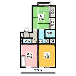 ヴェールハイツA・B 2階2Kの間取り