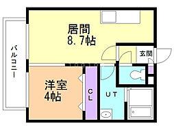 Kafuu Residence N35 3階1DKの間取り