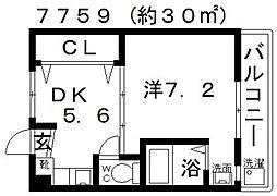 ヴィラナリー富田林2号棟[310号室号室]の間取り