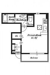 アパートメント・ラ・ティンカー[1階]の間取り