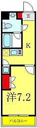ビバリーホームズ赤塚公園II 6階1Kの間取り