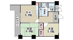 ロイヤル花隈[6B号室]の間取り