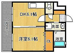 JR鹿児島本線 古賀駅 徒歩4分の賃貸マンション 7階1DKの間取り