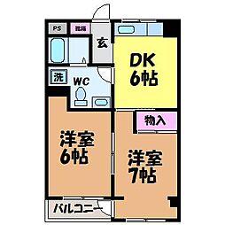愛媛県松山市北土居3丁目の賃貸マンションの間取り