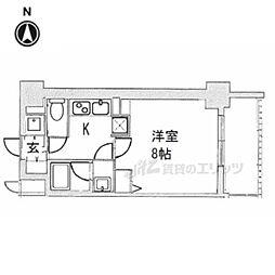 阪急京都本線 西院駅 徒歩14分の賃貸マンション 2階1Kの間取り