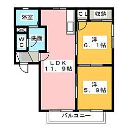 ロックワン A[1階]の間取り