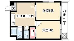 愛知県名古屋市瑞穂区川澄町4丁目の賃貸マンションの間取り
