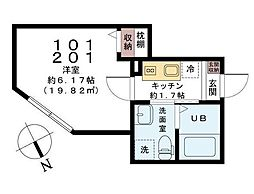 千葉県習志野市実籾6丁目の賃貸アパートの間取り