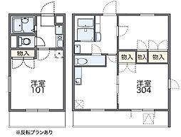 南海高野線 河内長野駅 徒歩18分の賃貸マンション 3階1Kの間取り