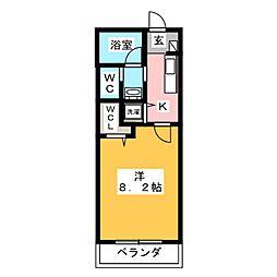 愛知県名古屋市天白区野並3の賃貸アパートの間取り