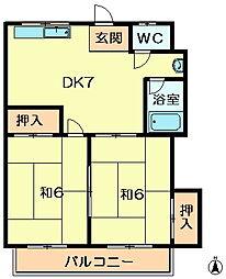 メゾンドフルール生駒1番館[1階]の間取り
