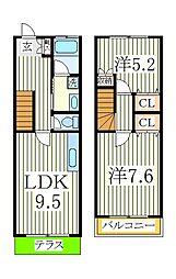 タウンハウス中忠2[1階]の間取り
