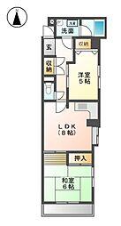 フロ−ラルハイツ澤田[4階]の間取り