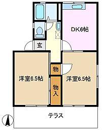 神奈川県横浜市緑区東本郷5丁目の賃貸アパートの間取り