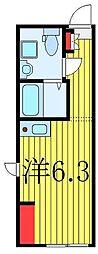 東武東上線 中板橋駅 徒歩4分の賃貸マンション 2階ワンルームの間取り